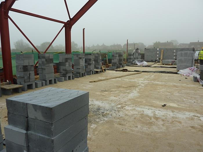 Blocks positioned ready to be laid