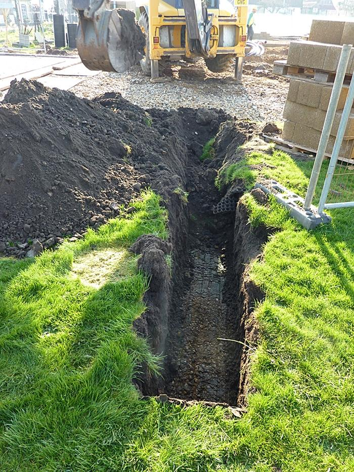 Power cable pipe trench