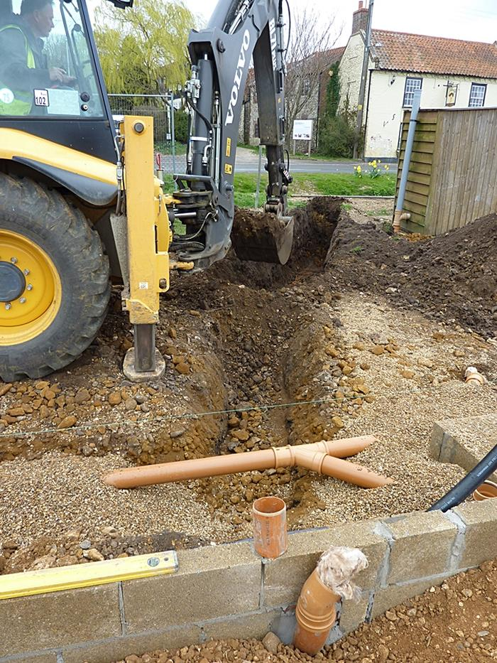 Trench for water pipe