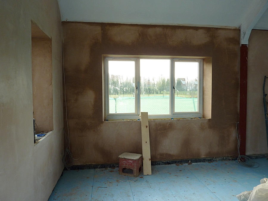Main Hall South wall plastered