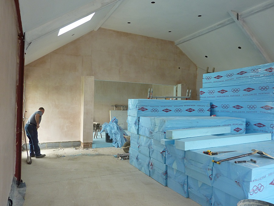 Main hall West wall plastered