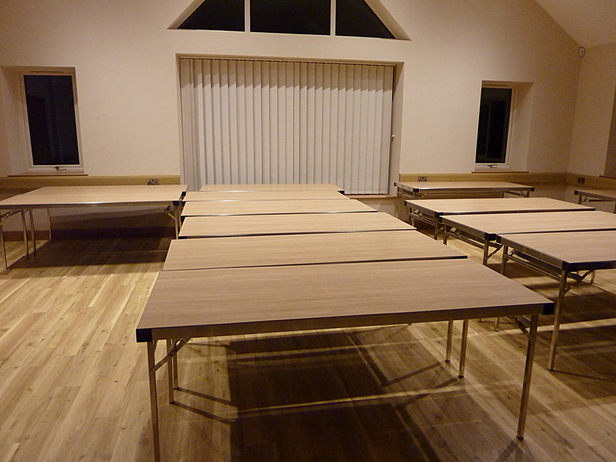 Main hall tables and blind