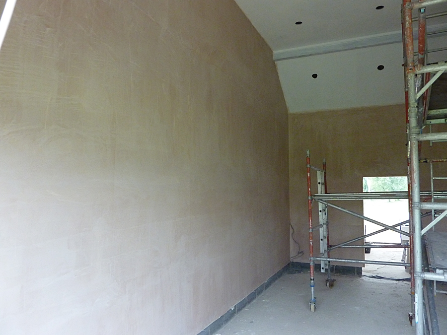 Meeting room walls plastered