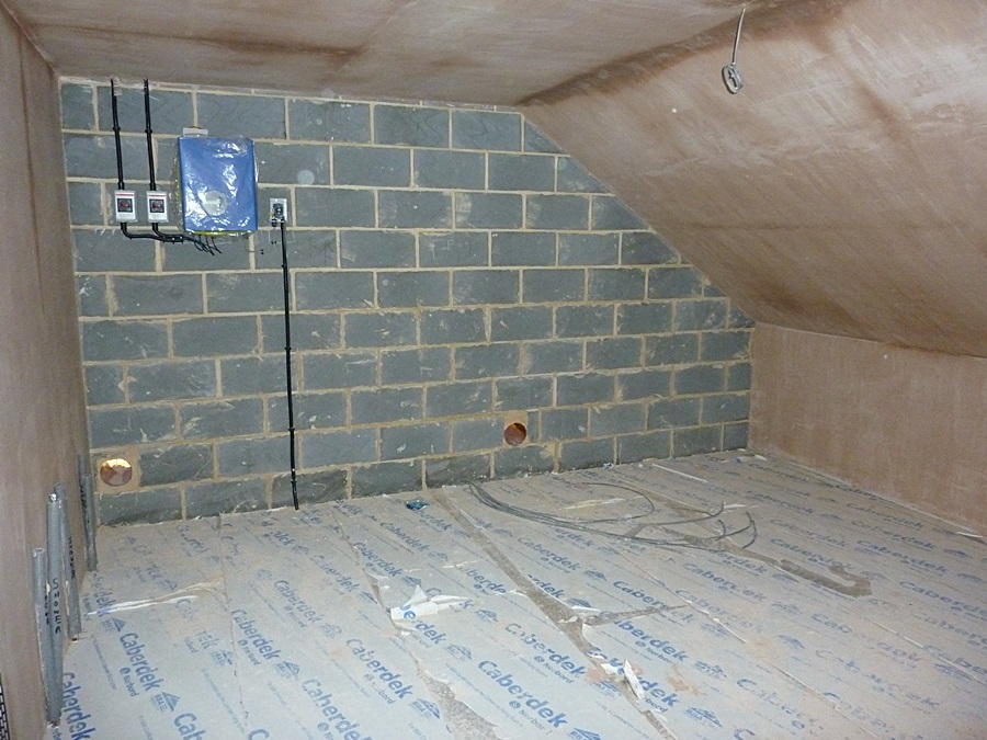 Plant room walls and ceiling plastered 2